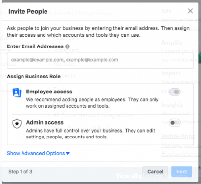 Add people to help you manage your Facebook assets