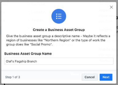 Create your first Business Asset Group